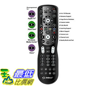 [106美國直購] Inteset 4-in-1 Universal Backlit IR 學習型遙控器 Android TV, Apple TV Xbox One Roku