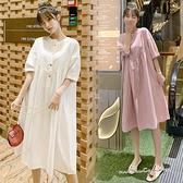 孕婦裝 MIMI別走【P521186】清新純色 立領修飾連身裙 開扣哺乳衣 孕婦洋裝