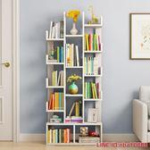 書櫃耐家簡易書架收納櫃落地置物架簡約現代學生書櫃組裝格子架仿實木 MKS摩可美家