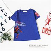 中大童 側邊蜘蛛人字母短袖上衣 寶藍 美式 卡通 英雄 蜘蛛人 T恤 短T 棉質 竹節棉 男童