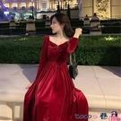 大碼連身裙 大碼心機紅色金絲絨胖妹妹A字打底遮肚連身裙女胖MM秋冬洋氣裙子 coco