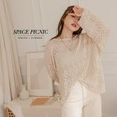 長袖 針織 Space Picnic|鏤空針織上衣-4色(現貨)【C21072012】