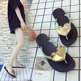 新款2018人字拖鞋時尚百搭女外穿平底外出涼拖海邊沙灘鞋 【格林世家】