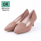 【ORiental TRaffic】極簡主義絨面中跟鞋-俐落米