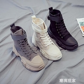 鞋子女2019潮鞋馬丁靴薄款時尚潮流英倫風短靴顯瘦高幫春秋單鞋潮『潮流世家』