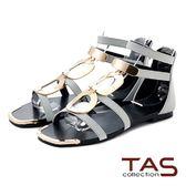 TAS  復古大金屬環繫帶後包涼鞋-淺灰藍