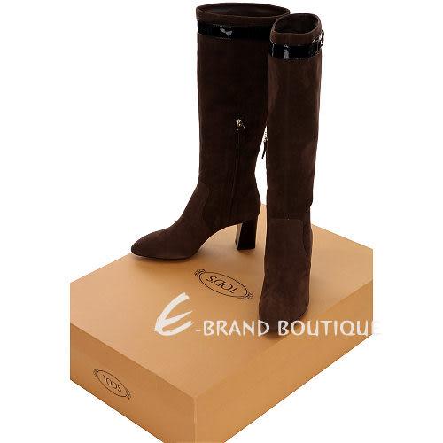 TOD'S 咖啡色釦環綴飾麂皮粗跟長靴 1310295-07