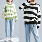 柔軟圓領配條針織毛衣-大尺碼 獨具衣格