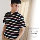 【大盤大】(P30873) 男POLO衫 黑 台灣製 短袖口袋上衣 條紋休閒衫 辦公室 翻領透氣【剩M和L號】