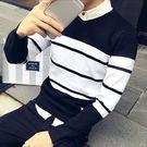 V領條紋拼色針織衫/毛衣 3色 M-2XL碼【CM65060】