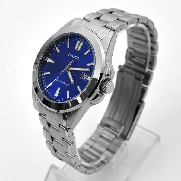 CASIO手錶 藍面雅痞日期窗刻度鋼錶NECE44