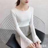 長袖針織衫 秋女2018新款喇叭袖毛衣女打底衫上衣 BF7143『寶貝兒童裝』