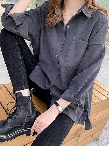 襯衫女設計感小眾秋季新款大碼寬鬆胖mm復古港味外穿百搭襯衣 衣櫥秘密