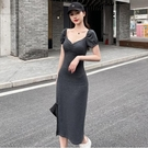 洋裝性感裙開叉裙S-XL 法式小眾方領一字肩泡泡袖顯瘦修身性感開叉氣質連身裙NE215D-6937.皇潮天下