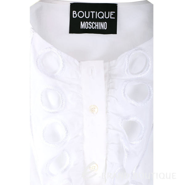 BOUTIQUE MOSCHINO 白色縷空荷葉造型無袖上衣 1620518-20