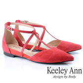 ★2019春夏★Keeley Ann慵懶盛夏 全真皮交叉帶尖頭麂皮包鞋(紅色) -Ann系列