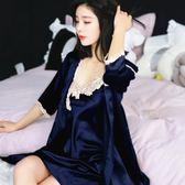 睡衣女夏冰絲性感睡裙女夏睡袍兩件套大碼家居服短袖套裝蕾絲 伊蒂斯女裝