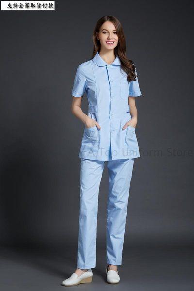 小熊居家口腔三甲醫院牙科診所女醫生護士短袖翻領收腰工作服 女護士服特價