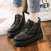 馬丁靴 鬆糕復古馬丁靴女英倫風厚底百搭學生靴子女短靴平底【快速出貨】