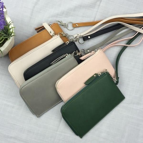 素色掛繩拉鍊手機包 手機袋(共6色)