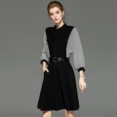 長袖洋裝 D906903一件代發女裝2019秋冬新款女時尚圓領長袖系帶A字裙連衣裙