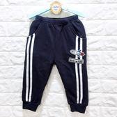 ☆棒棒糖童裝☆(E7451)秋冬男童鬆緊腰藍色貼布內刷不倒絨長褲5-15