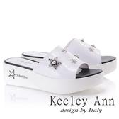 ★2018春夏★Keeley Ann個性玩酷~金屬星星寶石點綴厚底拖鞋(白色) -Ann系列