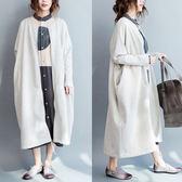 外套【K01】FEELNET中大尺碼女裝2018秋裝文藝中長款寬鬆開衫長袖外套 均碼