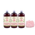 【Green Pharmacy草本肌曜】葡萄玫瑰&綠茶沐浴500ml 3入組 加贈時尚沐浴裙(顏色隨機)