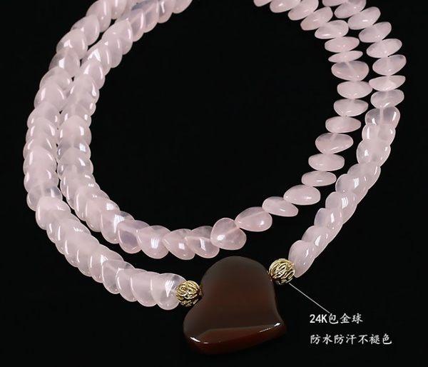 [協貿國際]天然粉水晶愛心長項鍊單條價
