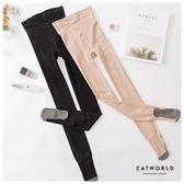 Catworld 高腰提臀足底加棉褲襪【18003454】‧F