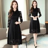 長袖洋裝`輕熟風黑色蕾絲連身裙秋季女裝復古法式修身收腰顯瘦長款小黑裙T105依佳衣