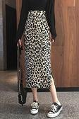 港味復古豹紋針織半身裙女秋冬新款高腰包臀中長款側開叉半裙