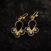 耳環 純銀鍍18K金鑲鑽-秀氣溫柔生日情人節禮物女飾品73cx49【時尚巴黎】