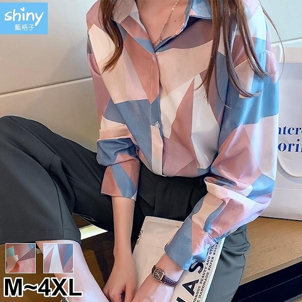【V3207】shiny藍格子-搶眼色彩.復古印花翻領長袖襯衫