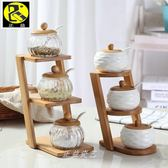 梯形上下層式竹架子配玻璃罐陶瓷調味罐調料盒鹽罐套調料收納盒全館滿千89折