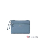 BESIDE-U BERS 質感壓印線條化妝包手拿包 - 藍色 原廠公司貨