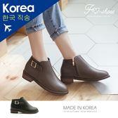 靴.方釦側拉鍊低跟踝靴-FM時尚美鞋-韓國精選.MICRO