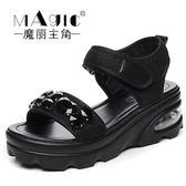 鬆糕厚底涼鞋羅馬水鑽港味復古鞋子-2色