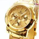 【萬年鐘錶】SIGMA 日系 經典 男錶  女錶  金錶面 金殼 金錶帶  日期,星期顯示 8807MLG2