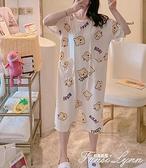 網紅熊睡裙女夏季睡衣薄款冰絲短袖寬鬆連體褲防走光中長款家居服 范思蓮恩