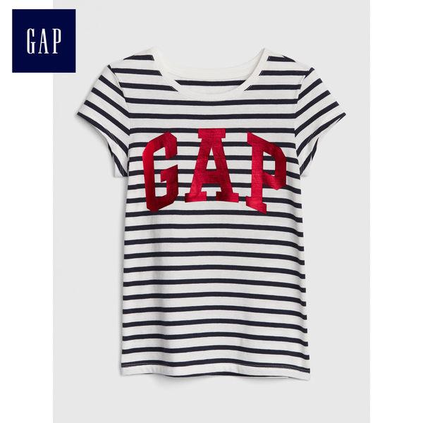 Gap女童 Logo條紋短袖圓領T恤 466927-海軍藍色