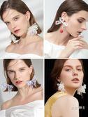 歐美夸張新款白色蕾絲花朵耳環女氣質個性時尚潮人簡約髮飾 交換禮物
