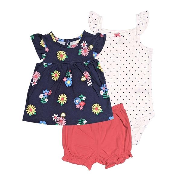 女寶寶套裝三件組 蝴蝶袖上衣+包屁衣+短褲 深藍花 | Carter s卡特童裝 (嬰幼兒/兒童/小孩)