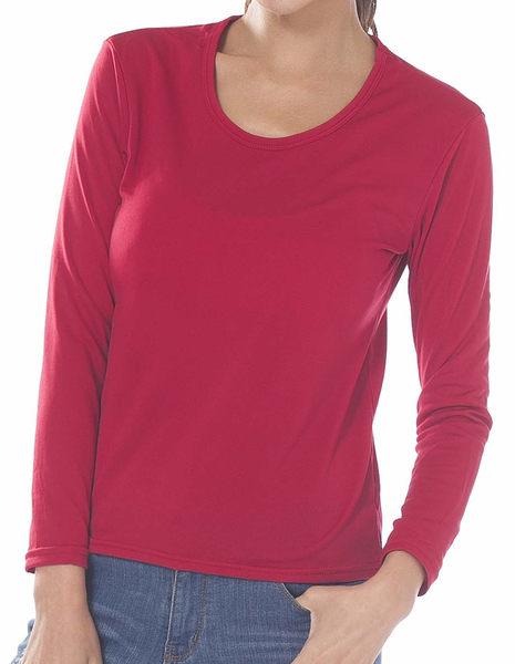 【LIGHT & DARK】發熱速暖絨時尚女圓領衣-紅