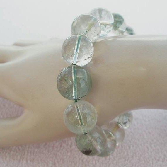 【歡喜心珠寶】【天然巴西綠幽靈水晶圓珠16mm手鍊】14顆.重77.5g「附保証書」超低價售出!