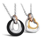 【5折超值價】純鋼配鏈兩環式炫動心跳情侶鈦鋼項鏈