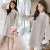 孕婦連身裙洋裝 孕婦時尚款裙子韓版甜美燈籠袖假兩件格子孕婦連身裙 傾城小鋪