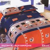 活性印染5尺雙人薄式床包+鋪棉兩用被組-皇家士兵/夢棉屋