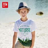 JJLKIDS 男童 清新自然風可愛仙人掌短袖上衣 T恤(白色)